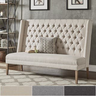 living room settee. Sawyer Straight Back Tufted Linen Upholstered Bench by iNSPIRE Q Artisan Settees For Less  Overstock com