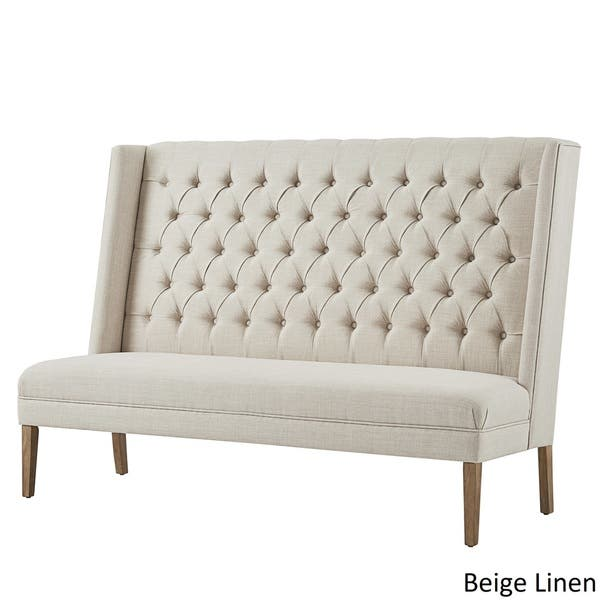 Super Shop Sawyer Straight Back Tufted Linen Upholstered Bench By Andrewgaddart Wooden Chair Designs For Living Room Andrewgaddartcom
