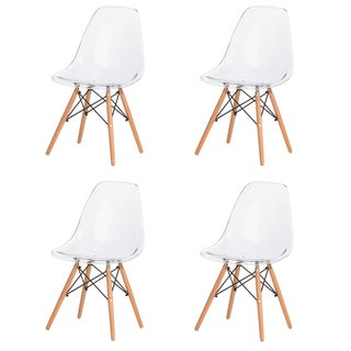 Clear Midcentury-modern Retro Dining Chairs (Set of 4)