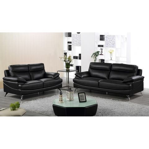 Best Quality Furniture 2-piece Upholstered Leather Sofa and Loveseat Set