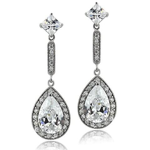 Icz Stonez Sterling Silver CZ Pear Teardrop Dangle Earrings
