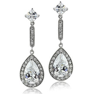 Icz Stonez Sterling Silver CZ Pear Teardrop Dangle Earrings