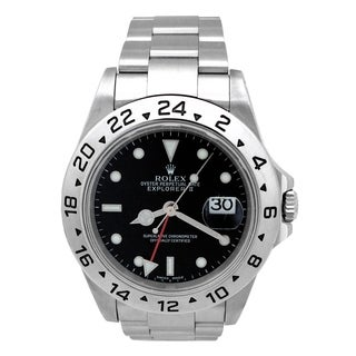 Pre-owned 40mm Rolex Stainless Steel Explorer II Watch with Black Dial 16570.