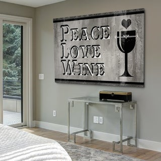 Peace Love Wine - Gallery Wrapped Canvas