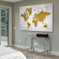 Golden World Map - Gallery Wrapped Canvas