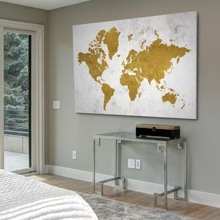 Golden World Map - Gallery Wrapped Canvas (4 options available)