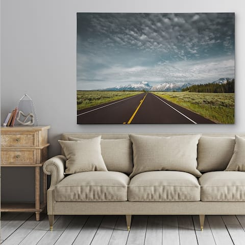 Empty Park Road - Gallery Wrapped Canvas