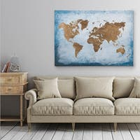 Washy World Map - Gallery Wrapped Canvas