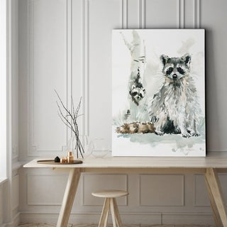 Raccoon and Baby - Gallery Wrapped Canvas
