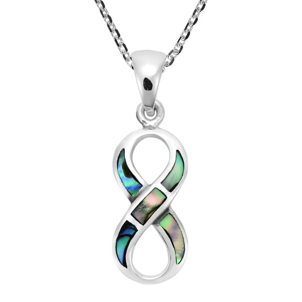 Love Forever Infinity Symbol Abalone .925 Silver Necklace (Thailand)