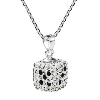 Sparkling 3D Sparkling Dice Sterling Silver Necklace (Thailand)