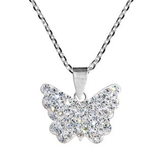 Handmade Cute Butterfly Crystal .925 Silver Necklace (Thailand)