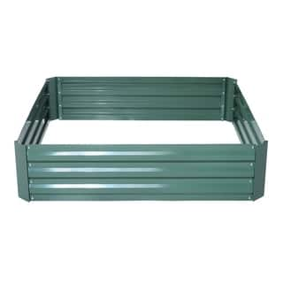 Outsunny 49 in. x 49 in. x 12 in. Galvanized Metal Raised Garden Bed