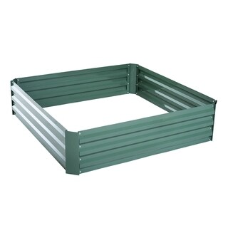 Outsunny 26 in. x 26 in. x 12 in. Galvanized Metal Raised Garden Bed Set of 2