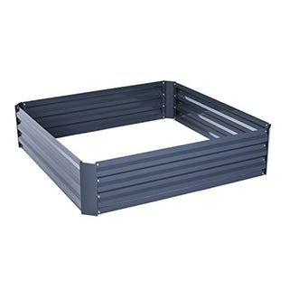"""Outsunny 49"""" x 49"""" x 12"""" Galvanized Metal Raised Garden Bed"""