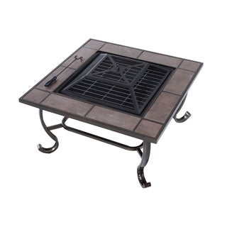 Outsunny 34 in. Square Wood-Burning Outdoor Metal Fire Pit