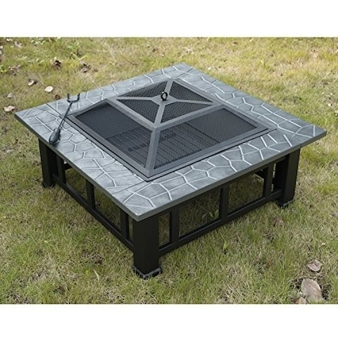 "Outsunny 32"" Square Outdoor Fire Pit"