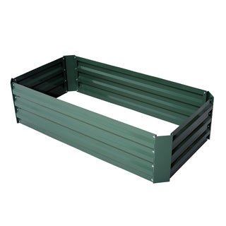 Outsunny 49 in.  x 26 in.  x 12 in.  Galvanized Metal Raised Garden Bed