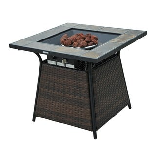 Outsunny 32 in. Outdoor Wicker Base LP Gas Fire Pit Table with Tile Mantel