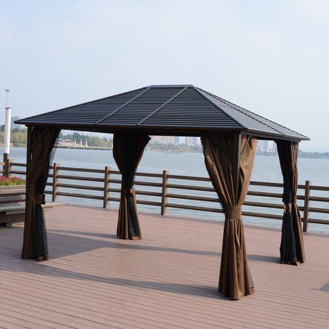Outsunny 12 X 10 Steel Hardtop Outdoor Gazebo With Curtains