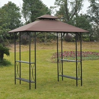 Outsunny 8' 2 Tier Outdoor BBQ Grill Gazebo with Bar Shelves