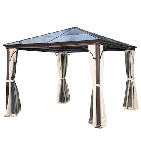 Outsunny 10 X Steel Frame Hardtop Gazebo With Curtains