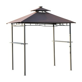 Outsunny 8' x 5'- 2 Tier Outdoor BBQ Grill Gazebo with LED Lights and Bar Shelves