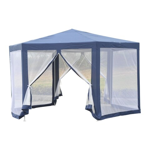 Outsunny Outdoor Hexagon Party Gazebo with Mesh Screen
