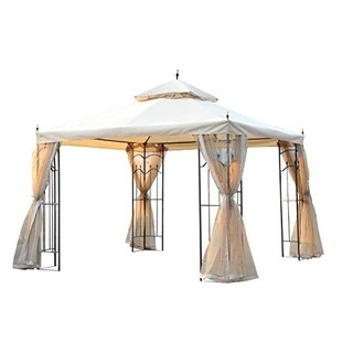 Outsunny 10' x 10' Steel Outdoor Garden Gazebo with Mesh Curtains