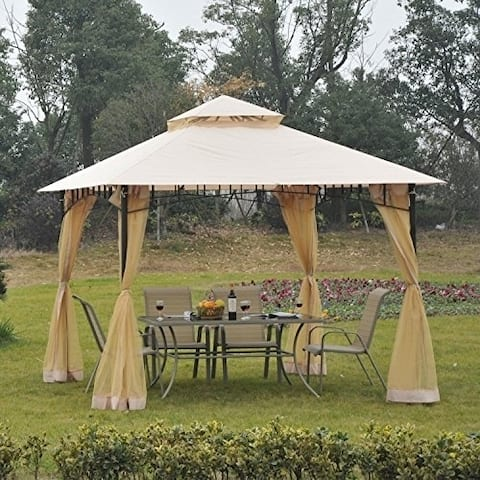 Outsunny 10 X Steel Outdoor Garden Gazebo With Mosquito Netting
