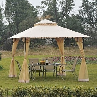 Outsunny 10' x 10' Steel Outdoor Garden Gazebo with Mosquito Netting