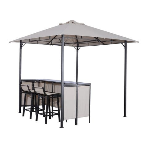 Outsunny 8 ft x 8 ft Outdoor Covered Bar Gazebo Set with Barstools
