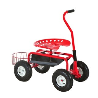 Outsunny Rolling Garden Cart with Bucket Basket