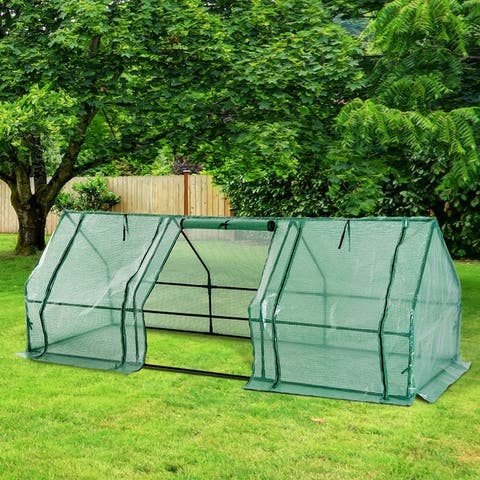 Outsunny 9' L x 3' W x 3' H Outdoor Portable Flower Plant Garden Greenhouse Kit