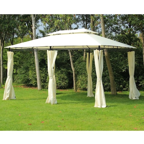 Outsunny 13' x 10' Outdoor 2-Tier Steel Frame Pop-up Shade Gazebo with Zippered Curtains & 2-Tier Design, Black / Cream