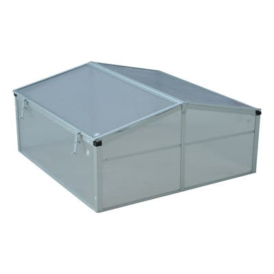 """Outsunny 39"""" Aluminum Vented Cold Frame Mini Greenhouse Kit with Adjustable Ventilated Roof & Durable Design, Silver"""