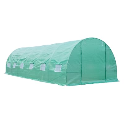 Outsunny Outdoor Portable Walk-in Tunnel Greenhouse w/ 12 Vented Windows