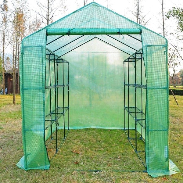 Outsunny 8' x 6' x 7' Portable Greenhouse w/ Shelves. Opens flyout.