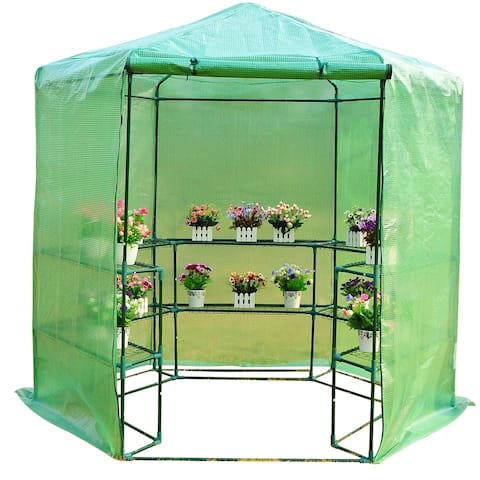 Outsunny 3-Tier Portable Walk-In Hexagonal Greenhouse Kit