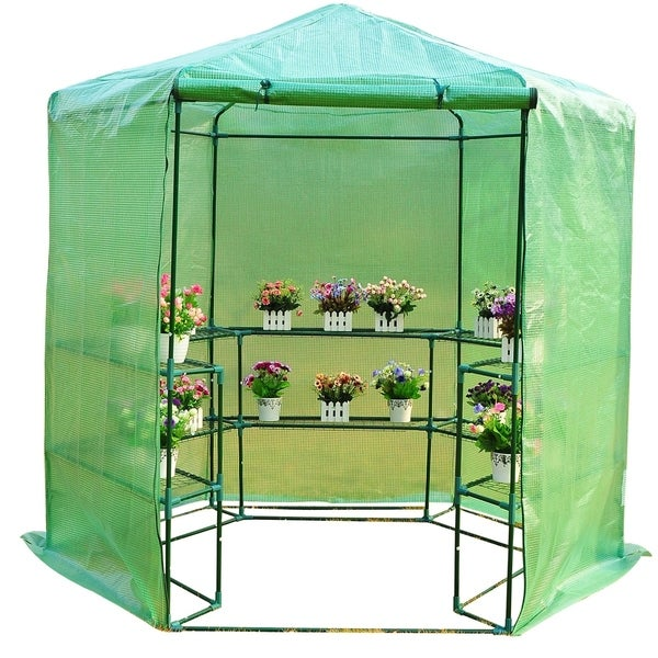 Outsunny 6.5'x7.5' 3-Tier 10 Shelf Outdoor Portable Walk-In Hexagonal Greenhouse Kit with Zippered Doors & PE Covering. Opens flyout.