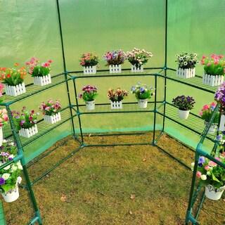 Outsunny 7.5' Hexagonal 3 Tier Shelf Walk In Portable Greenhouse