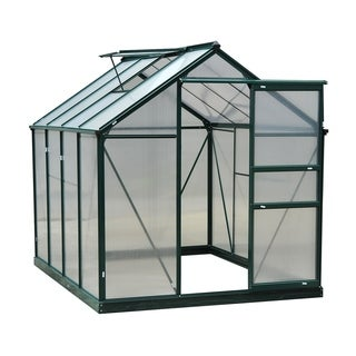 Outsunny 6 ft x 8 ft x 7 ft Polycarbonate Portable Walk-In Garden Greenhouse