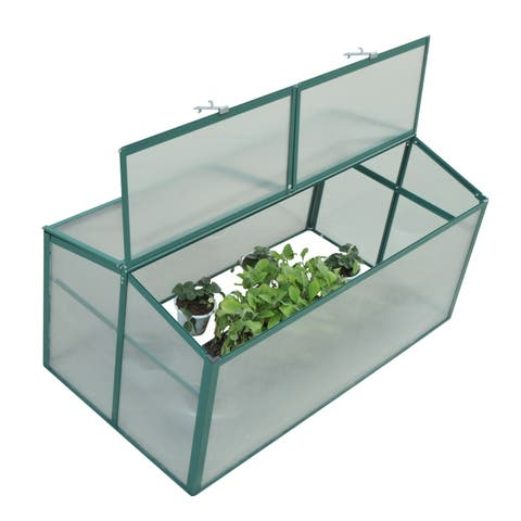 """Outsunny 52"""" x 28"""" Aluminum Vented Cold Frame Greenhouse"""