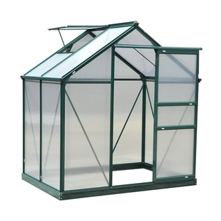 Link to Outsunny 6' x 4' x 7' Twin Wall Polycarbonate Walk-In Garden Greenhouse Similar Items in Yard Care