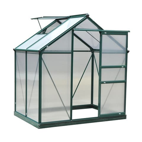 Outsunny 6' x 4' x 7' Twin Wall Polycarbonate Walk-In Garden Greenhouse