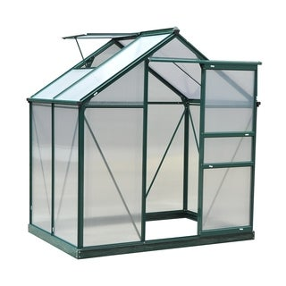 Outsunny 6 ft L x 4 ft W x 7 ft H Twin Wall Polycarbonate Walk-In Garden Greenhouse