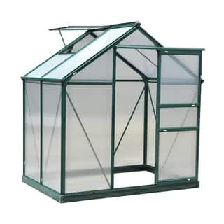 Outsunny 6' L x 4' W x 7' H Twin Wall Polycarbonate Walk-In Garden Greenhouse