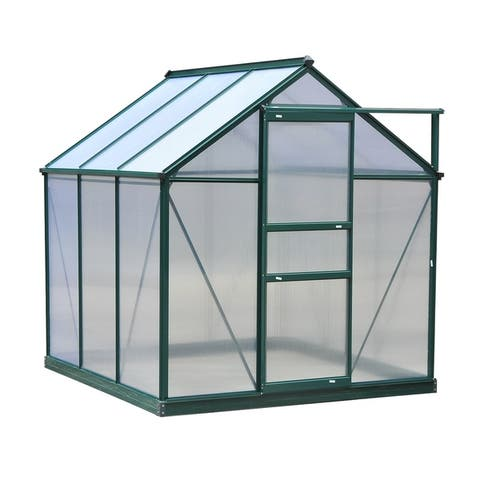 Outsunny 6' L x 6' W x 7' H Polycarbonate Portable Walk-In Garden Greenhouse