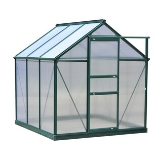 Outsunny 6 ft L x 6 ft W x 7 ft H Polycarbonate Portable Walk-In Garden Greenhouse