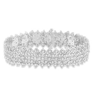 Sterling Silver 3ct TDW Multi-Row Rose-cut Diamond Tennis Bracelet(I-J,I2-I3) - White